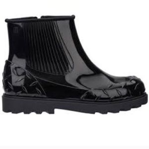 Melissa Fusion Ankle Chelsea Rain Boot Black Sz 8